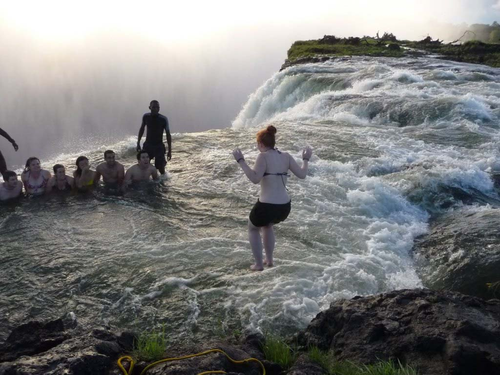 victoria falls - jumping into devils pool